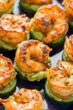Assembled avocado shrimp bites on a platter