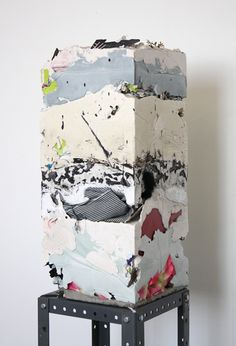 "Jack Henry. Untitled (Core Sample #9), 2012. 20""x9""x9"". Gypsum, cement, acrylic and found objects."