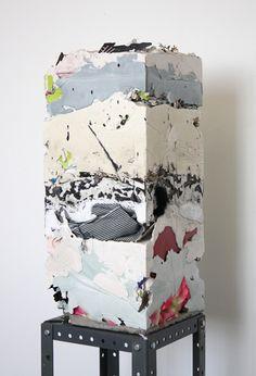"Jack Henry. Untitled (Core Sample #9), 2012. 20""x9""x9"". Gypsum, cement, acrylic…"
