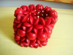 All Red-Wooden Beaded Bracelet!