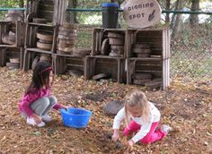 wooden crates can be used on playground (natural) to store objects used in play such as cut wood rounds