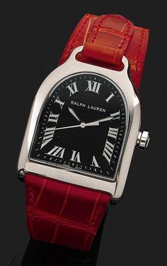 RALPH LAUREN STIRRUP MEDIUM Montre bracelet avec boîtier étrier en acier. Cadran noir avec ind