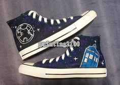 Custom Converse Doctor Who shoes Tardis Galaxy by Painting2100