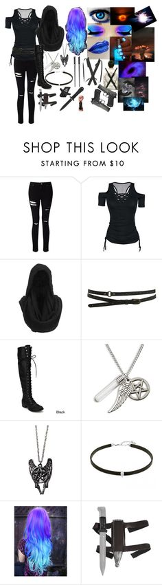 """Im just hired to kill you."" by eyeless-angel-of-death ❤ liked on Polyvore featuring Miss Selfridge, Gestuz, Warehouse, Sephora Collection, Mason's and Ring of Fire"