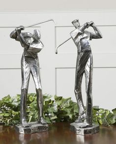 Beautiful Practice Shot Golfers Statues, Set Of 2