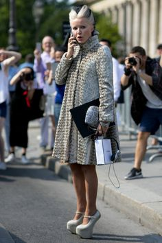 Daphne Guinness exiting the Chanel show in Paris, July 7, 2015
