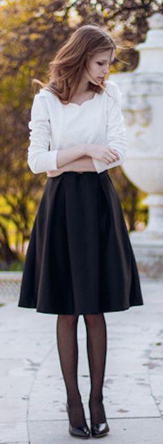 cute #black midi skirt http://rstyle.me/n/icu4ir9te