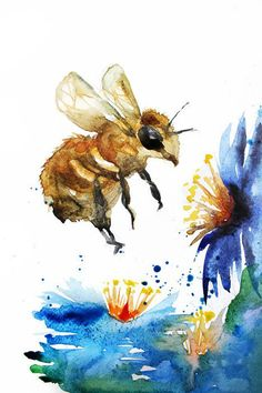 Bee watercolor original Bumblebee watercolor watercolor