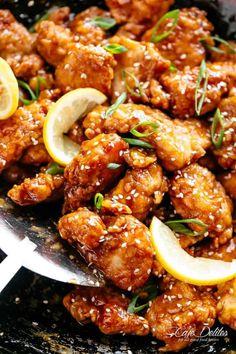 Chinese Chicken Dishes, Chinese Lemon Chicken, Sesame Chicken, Chinese Food, Chinese Dinner, Sriracha Chicken, Asian Chicken, Ranch Chicken, Garlic Chicken