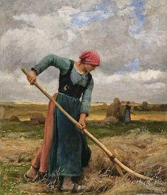 Julien Dupré - Faneuse Oil on canvas 12 x 9 inches Signed and dated 1881 Animal Painter, Barbizon School, Beaux Arts Paris, Arte Country, Oil Painting For Sale, French Artists, Portrait Art, Oeuvre D'art, Impressionism
