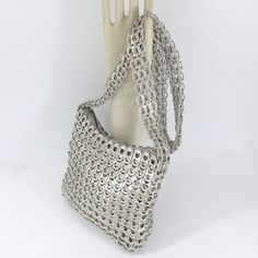 Small zipper purse in silver by sjroemer on Etsy