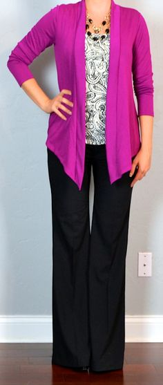 Outfit Posts: outfit post: pink cardigan, print blouse, black pants
