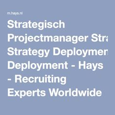 Strategisch Projectmanager Strategy Deployment - Hays - Recruiting Experts Worldwide