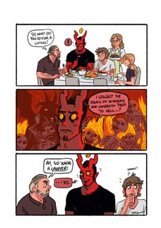 "003 - Family Dinner ""It gets even awkward during Christmas dinner with Guy's religious relatives.""  Written and illustrated by tohdaryl.  #tohdaryl #tobiasthedemonandguy"