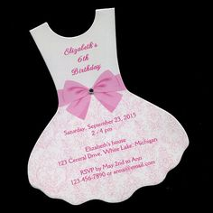 These personalized dress shaped birthday party invitations feature a printed pink bow at the waistline with an added gemstone and a lace-look printed skirt. The invitations are printed on a high-quality glossy white cover stock with a laser printer in pink ink. They are personalized with your own party information.  Each invitation measures 4 3/8 X 5 1/8 tall. You will receive: 10 printed invitations 10 white envelopes  Please check my shop policies page for current order processing times…