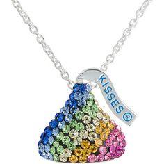 "Hershey's Kiss Multi-Colored Rainbow Crystal Silvertone Pendant, 18"""