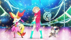 Serene, Braixen and Pancham Dance with Fiery Charm in XY Ep 80.
