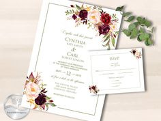 Wedding Invitations, Printable Invitations, Invitation Template, Invitation Set, Wedding Suite, Wedding Stationery, Printable Invite, DIY by ForestHillDesignsCA on Etsy Gold Invitations, Printable Wedding Invitations, Invitation Set, Wedding Stationery, Invite, Rsvp Wording, Wishing Well, Table Cards, Card Sizes