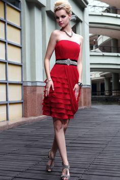 Royal Red Chiffon Short A-Line Cocktail Dress