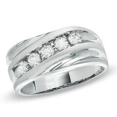 Men's 1/2 CT. T.W. Diamond Slant Wedding Band in 14K White Gold - Zales