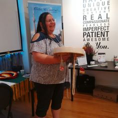 Brenda MacIntyre goose bump giving Juno Award-winning singer and indigenous wisdom-keeper and more sings and drums out a beautiful song to open the celebration and wellness fair at the 1st Annual Anniversary & Wellness Fair and Market on Sep 21, 2016