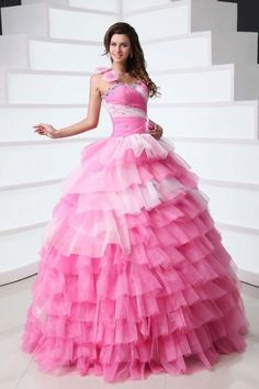 Tiered One-shoulder White and Deep Pink Quinceanera Dress