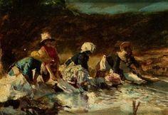 Joaquin Sorolla y Bastida -   Lavanderas (Italia) - 1886 - oil on board - 14 x 19 cm. (5.5 x 7.5 in.)