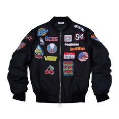 PATCHES BOMBER JACKET BLACK   GCDS - In goal we trust