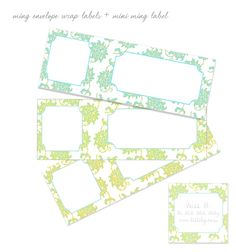 lots of great printables including some pretty envelope wrap labels - scroll way down for the pictured items.