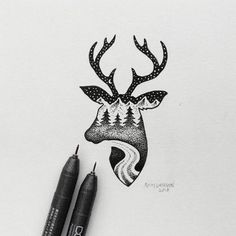drawings hybrid hipster deer easy drawing cool inspiration pen fubiz larson sam illustrations uploaded user daily