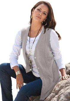 d2b84dbc6e379 Roamans Plus Size Fine Gauge Long Sweater Vest  29.99 Long Sweater Vest