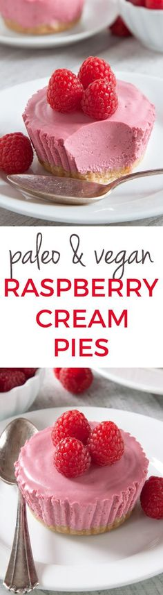 Paleo No-Bake Raspberry Cream Pies (vegan, grain-free, gluten-free, and dairy-free)