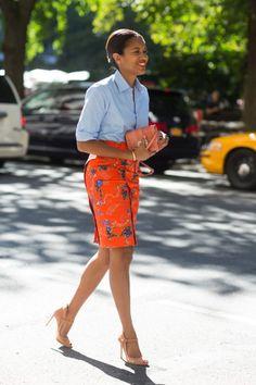 chambray + print skirt
