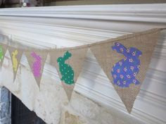 Bunny Banner Bunting   burlap  baby shower by FancyFlagsandBanners, $14.00