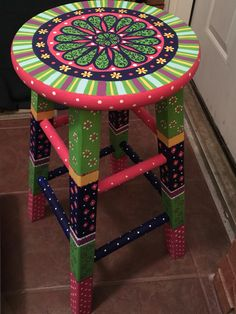 All island stools be different painted stools to bring color and creativity to kitchen Whimsical Painted Furniture, Hand Painted Chairs, Hand Painted Furniture, Funky Furniture, Paint Furniture, Furniture Projects, Furniture Makeover, Chair Makeover, Office Furniture