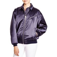 T by Alexander Wang Satin Bomber Jacket (5.495 NOK) ❤ liked on Polyvore featuring outerwear, jackets, marine, t by alexander wang jacket, flight jacket, purple jacket, satin jacket and bomber jacket