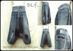 *Harems Hose in Jeanspatchwork + (Herstellen nach Maß)*  Ein Durcheinander von Hosenstücken Jeans, die an den verschiedenen Tönen von Denim, surpiqûres zerkleinert wurden, weiß.  Leicht...