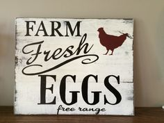 """Fresh Eggs farmers market sign with chicken. Farmhouse distressed hand painted """"weathered"""" look sign by REFINDdesigngals on Etsy https://www.etsy.com/listing/225029482/fresh-eggs-farmers-market-sign-with"""