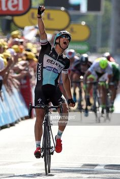 Zdenek Stybar of Czech Republic riding for Etixx-QuickStep celebrates as he wins stage six of the 2015 Tour de France from Abbeville to Le Havre on July 9, 2015 in Le Havre, France. #TDF2015 #rm_112