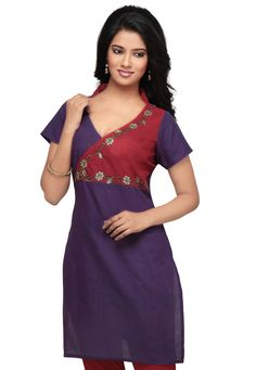 Purple Cotton Readymade Kurti