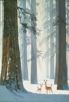Ralph Hulett illustration of deer in forest Winter Illustration, Forest Illustration, Children's Book Illustration, Landscape Illustration, Winter Art, Winter Snow, Art Design, Oeuvre D'art, Art Inspo