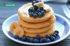 Banánové lívance Pan Sizes, Blueberry Recipes, Rice Flour, Bruschetta, Quiche, A Food, Food Processor Recipes, Pancakes, Vegetarian