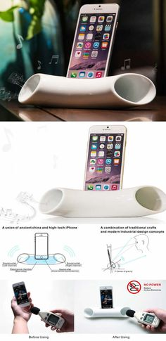 Ceramic Speaker Sound Amplifier Stand Dock for SmartPhone