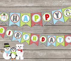 INSTANT DOWNLOAD   Happy Birthday Bunting Banner  by PartySparkle, $4.99