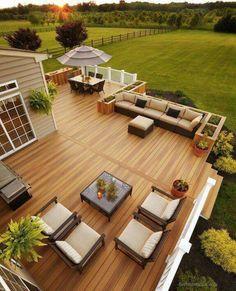 36 Ideas Landscaping Backyard Deck Railings For 2019 Backyard Patio Designs, Backyard Landscaping, Landscaping Ideas, Big Backyard, Wood Deck Designs, Back Deck Designs, Rooftop Deck, Terrace Design, Garden Design