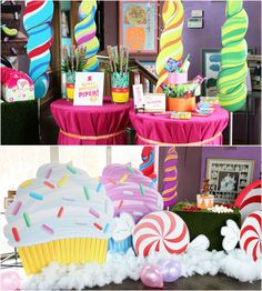 So much inspiration can be found in this candyland willy wonka birthday party! Look at the giant lollipops, cupcakes, and candy made out of cardboard! I especially like the tableclothes - floor length and belted in. Willy Wonka, Anniversaire Candy Land, Candy Land Theme, Candy Theme Classroom, Candy Party, Cupcake Party Decorations, Party Centerpieces, Birthday Decorations, Birthday Party Themes