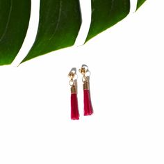 "The ""Pony Tail Earrings III"" in Fuchsia. Also available in Cream, Black and Turquoise. Online now at www.ParmeMarin.com #ParmeMarin #Ethnic #Jewelry"