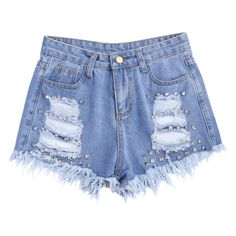 Ripped Cutoffs Rivet Denim Shorts Denim Blue ($21) ❤ liked on Polyvore featuring shorts