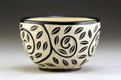 Vine and Leaf Bowl: Jennifer Falter: Ceramic Bowls - Artful Home Porcelain Jewelry, Fine Porcelain, Porcelain Ceramics, Pottery Bowls, Ceramic Pottery, Pottery Art, Sgraffito, Expensive Art, Clay Art Projects