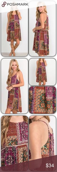 """💥WOW💥Boho Chic Adjustable Strap Cami Dress SML Gorgeous boho chic cami shift slip hi low dress. Beautiful mosaic pattern with crochet lace detail above waist. Adjustable spaghetti straps with flattering flowy fit. Magenta, taupe, teal, black, rust & ivory. 100% Soft Rayon. WOW!  Small 2/4 Bust 32-34 Front Length 34"""" Back 36""""  Medium 6/8 Bust 36-38 Front Length 34.5"""" Back Length 36.5""""  Large 10/12 Bust 40-42 Front Length 35"""" Back Length 37"""" Dresses"""